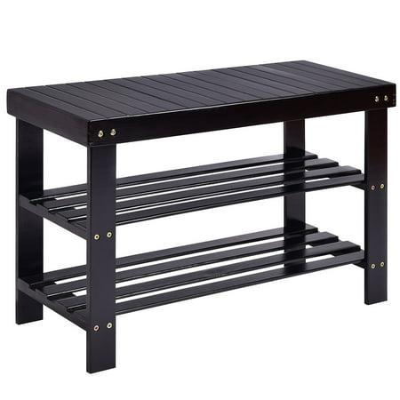 - Costway 3 Tier Bamboo Shoe Rack Bench Storage Shelf Organizer Entryway Home Furni Black