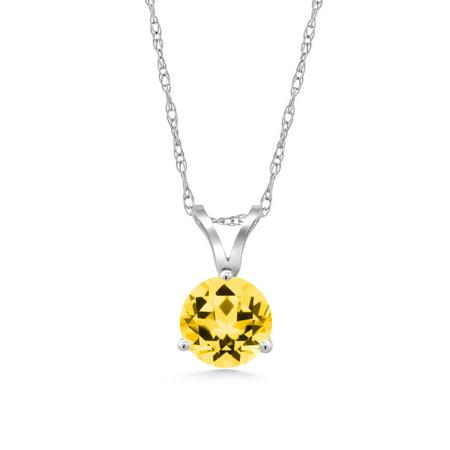18k Honey - 18K White Gold Pendant Set with Round Honey Topaz from Swarovski