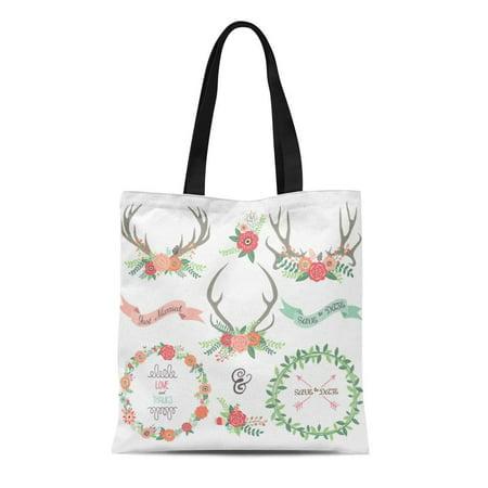 KDAGR Canvas Tote Bag Brown Antler Collections Flower Deer Horn Floral Wedding Anniversary Durable Reusable Shopping Shoulder Grocery Bag