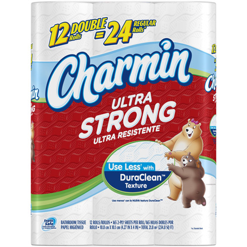Charmin Ultra Strong Double Roll Bathroom Tissue, 176 sheets, 12 Rolls