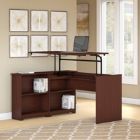 Bush Furniture Cabot 52W 3 Position Sit to Stand Corner Bookshelf Desk