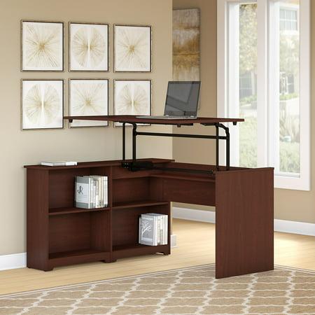 Kids Furniture Corner Desk - Bush Furniture Cabot 52W 3 Position Sit to Stand Corner Bookshelf Desk in Harvest Cherry