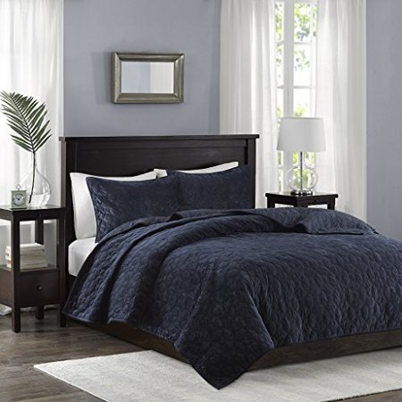 3 Piece Coverlet Set King/Cal King/Navy - image 1 of 3