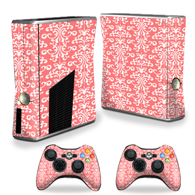 Mightyskins Protective Vinyl Skin Decal Cover for Xbox 360 S Slim + 2 controllers wrap sticker skins Coral Damask