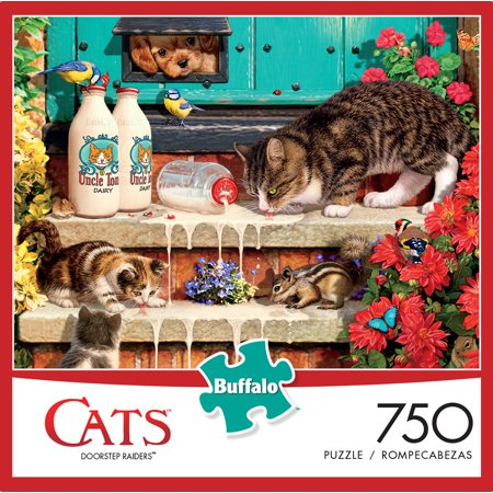 Halloween Jigsaw Puzzles For Adults (Buffalo Games Cats Series Doorstep Raiders 750 Piece Jigsaw)