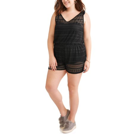 b44b0c3753 No Boundaries - Juniors  Plus-Size Open-Back Crochet Swim Cover-Up Romper -  Walmart.com