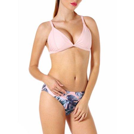 SAYFUT Juniors Two Piece Triangle Swimsuits V Neck Push Up Padded Bikini Double Straps Swimwear Bathing Suit