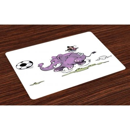 Elephant Placemats Set of 4 Elephant Playing Soccer with a Kid Mario Moustache Sports Theme Football Print, Washable Fabric Place Mats for Dining Room Kitchen Table Decor,Purple White, by - Moustache Mario