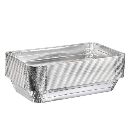 "Full Size Deep Steam Table Pans, Disposable Aluminum Chafing and Catering Pans (21"" x 13"" x 3"") (10 Pack, Without Lids) - Catering Pans"