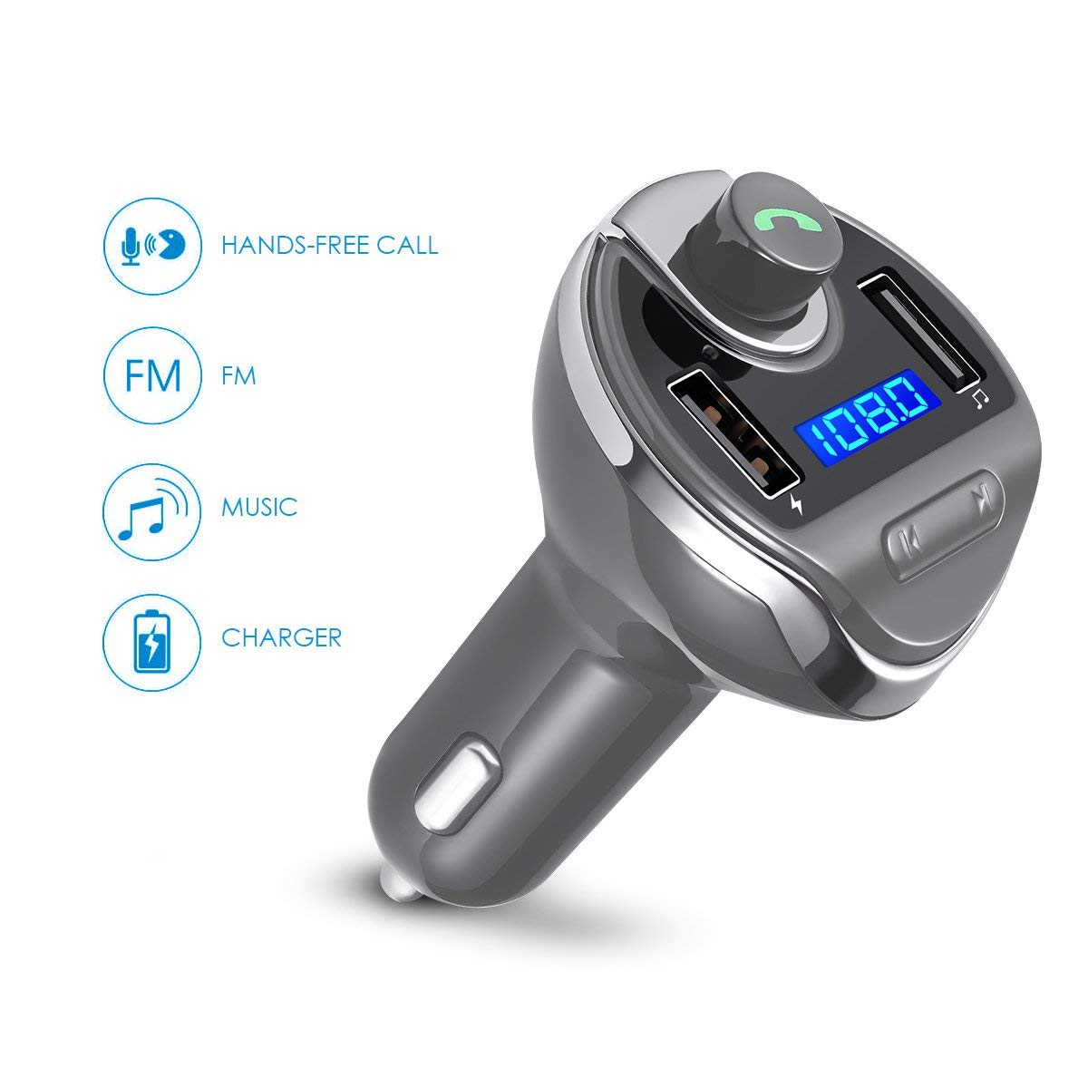 USB Car Bluetooth FM Radio Transmitter, Jelly Comb Wireless Bluetooth FM Transmitter Radio car auxiliary adapter Car Kit with Dual USB Charging Ports Hands Free Calling for iPhone,ipod, Samsung(GARY)