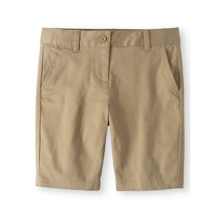Wonder Nation School Uniform Stretch Twill Bermuda Shorts (Little Girls & Big - Army Stretch Shorts