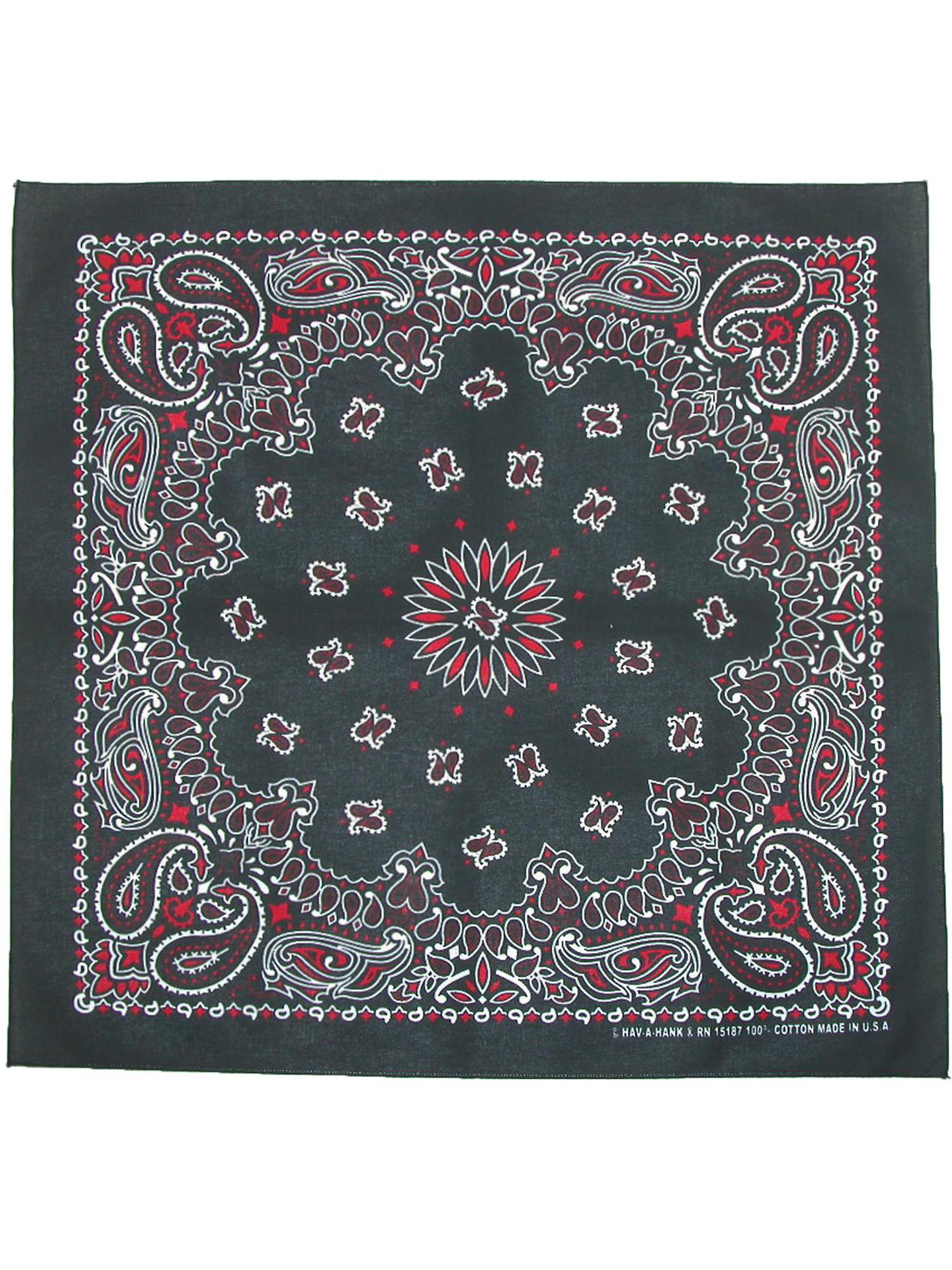 Black 22-Inch by 22-Inch A Hank Open Center Bandanna Carolina B22OPE00-0403 HAV