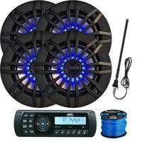 "Jensen Marine Audio MA200 AM/FM/USB/Bluetooth Waterproof Stereo, 4 x Enrock 6.5"" 2-Way 180W Speakers (Black) Featuring Flashing Blue LED Lighting, Speaker Wire, Radio Antenna"