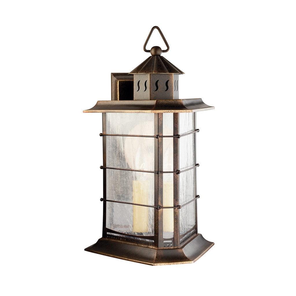 Kichler Lighting  Transitional 1-light Distressed Solid Brass Outdoor Wall Lantern