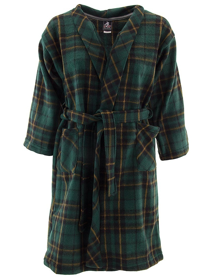 Green Plaid Bath Robes for Toddlers and Boys