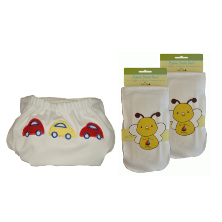 Bamboo/Organic One Size Pocket Diaper, 2 Bamboo/Organic Cloth Diaper & Potty Training Inserts