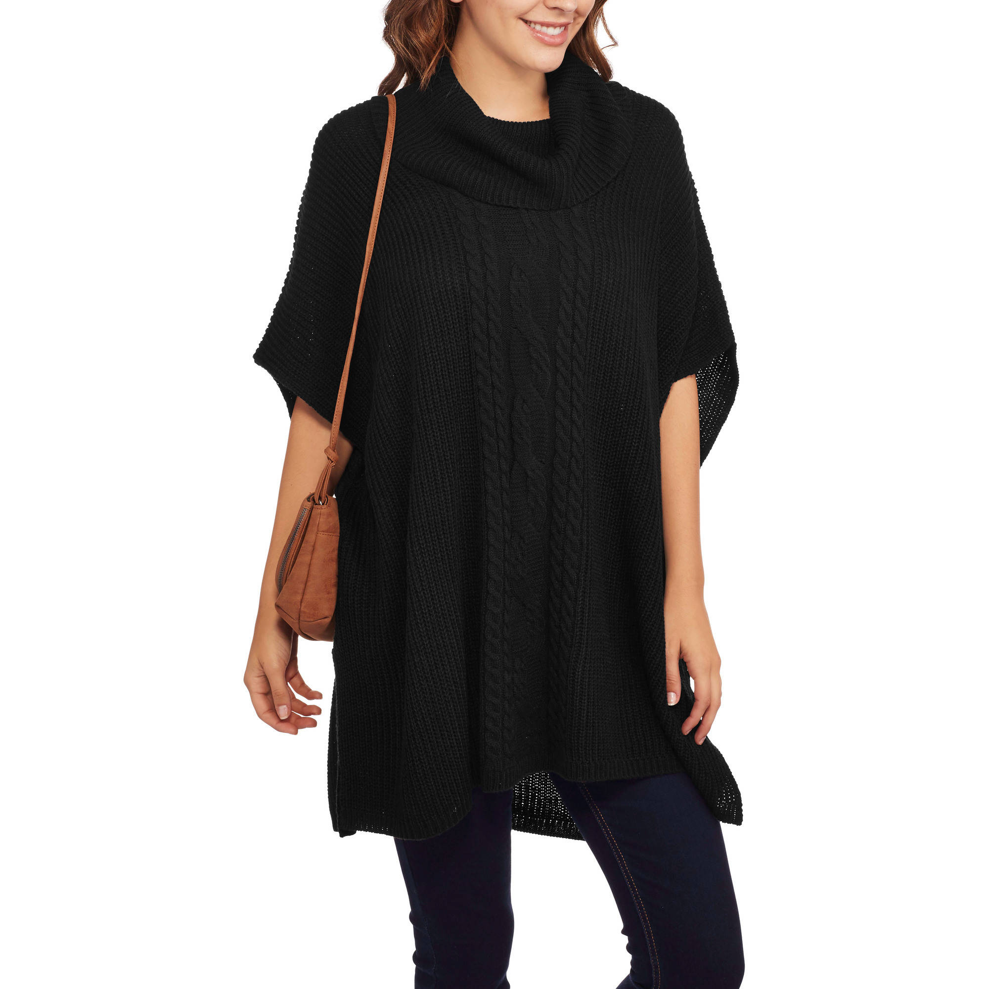 Faded Glory Women's Cowl Neck Poncho Sweater