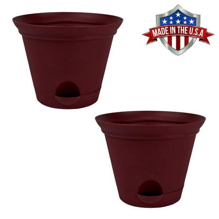 2 Pack 11.5 Inch Salsa Red Plastic Self Watering Terra Flower Pot or Garden Planter ()