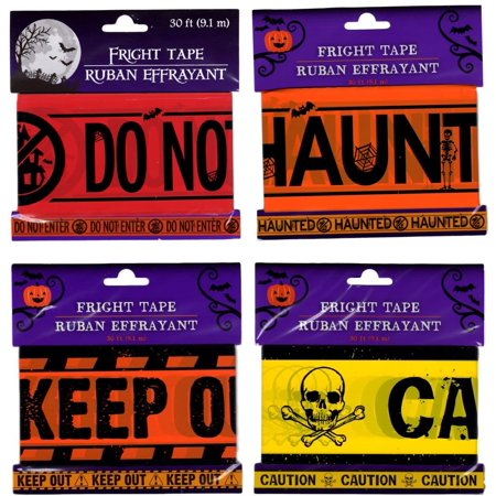Halloween Caution, Keep Out, Haunted House and Do Not Enter Tape Set of 4 Halloween Prop Party Decoration, Halloween Caution, Keep Out.., By Greenbriar International Ship from US - Halloween Keep Out Tape