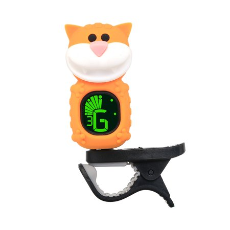 Cute Cartoon Cat Clip-On Tuner LCD Display for Guitar Chromatic Bass Ukulele
