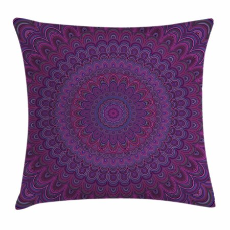 Purple Accent Pillows (Eggplant Throw Pillow Cushion Cover, Purple Mandala Shape with a Kaleidescopic Style Sixties Inspired Oriental Abstract Art, Decorative Square Accent Pillow Case, 16 X 16 Inches, Purple, by)