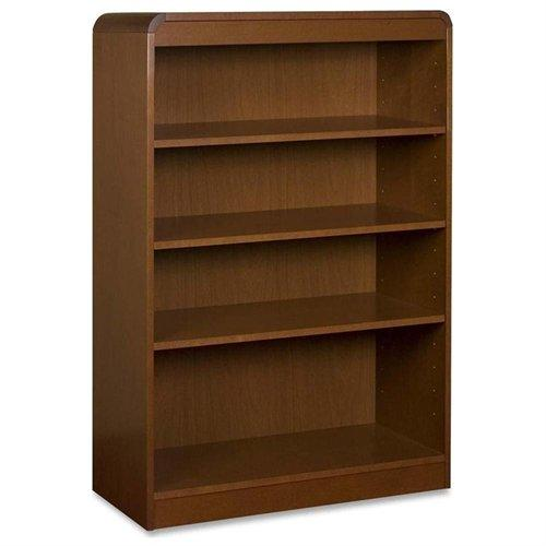 "Lorell Radius Veneer Bookcase - 36"" X 12"" X 48"" - Hardwood, Wood - 4 X Shelf[ves] - Cherry (LLR85051)"