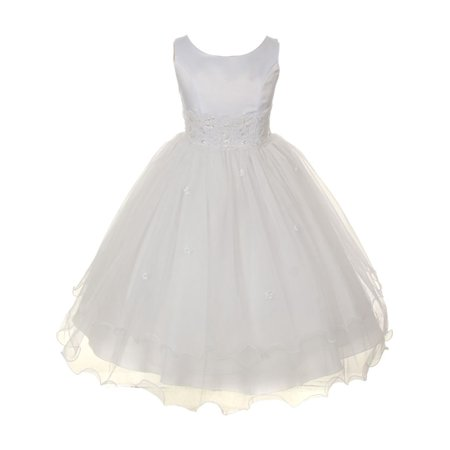 Kids Dream Girls White Satin Lace Beadwork Wire Hem Communion Dress (White Girl Dresses)