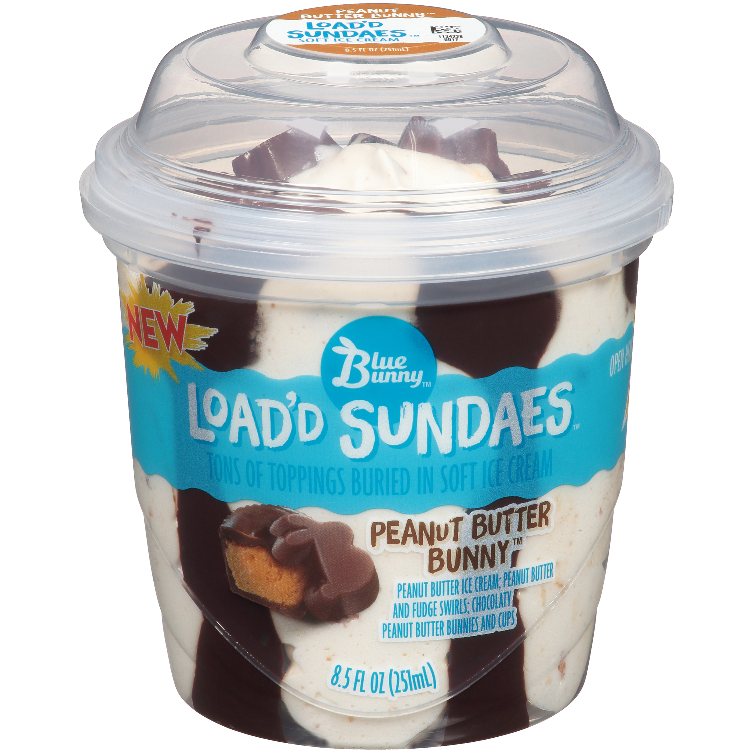 Blue Bunny Peanut Butter Bunny™ Load'd Sundaes™ Ice Cream Cup, 8.5 fl oz