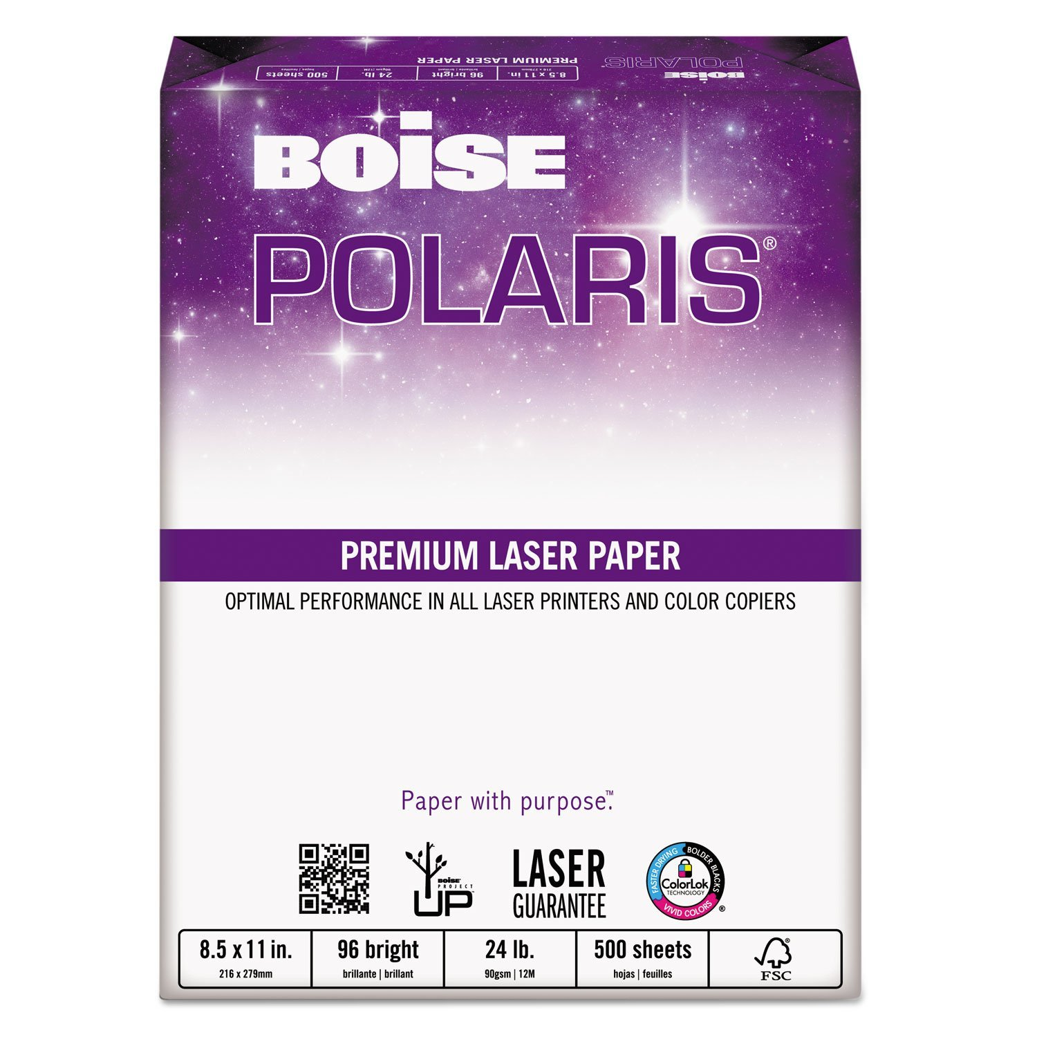 BPL-0117 HD:P Presentation Laser Paper, 24-lb., 11 x 17, 500 Sheets per Ream, White office paper with smooth finish and a 96 GE brightness rating for.., By Boise