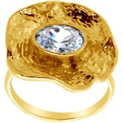 Belcho Wrinkled Flower with Oval CZ Ring 8