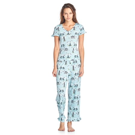 BHPJ By Bedhead Pajamas Women's Soft Knit Ruffle Short Sleeve Capri Pajama Set