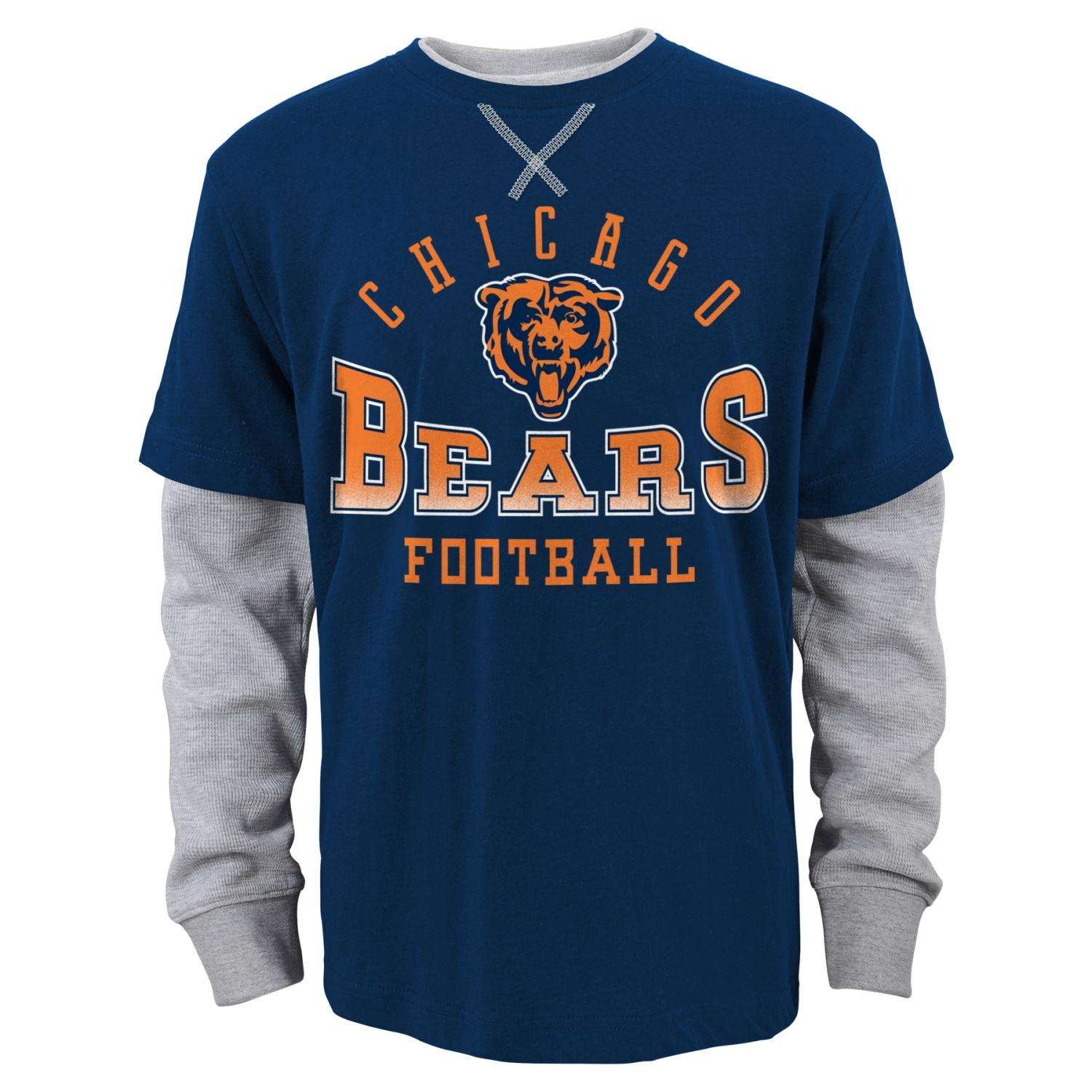 "Chicago Bears Youth NFL ""Arched Fade"" L S Faux Layer Thermal Shirt by Outerstuff"