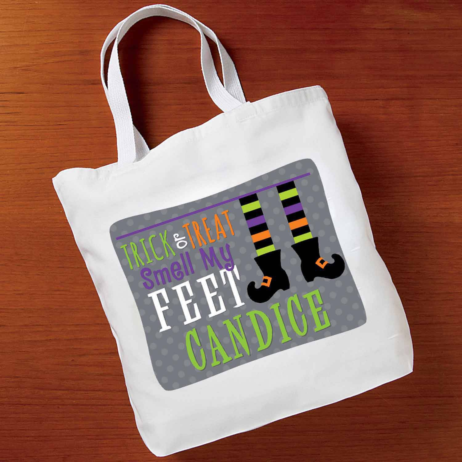 Personalized Witch Feet Tote Bag