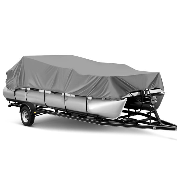 "21-24ft x 102"" Beam Width Waterproof Boat Cover All Weather Outdoor Protector Fits Flat Bottom Boats,Gray"
