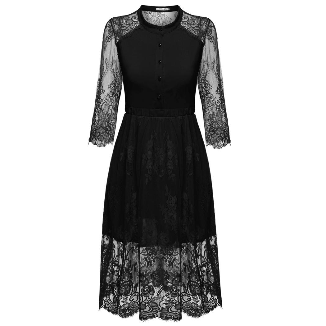 New Year Big SALE ! Women 3/4 Sleeves Printed Lace Evening Midi Dress PESTE