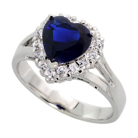8m Sapphire - Sterling Silver Blue Sapphire Cubic Zirconia Ring Heart Shape Rhodium finish, sizes 5 - 9
