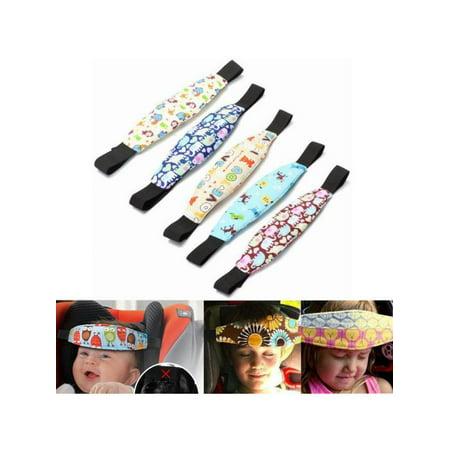 Adjustable Toddler Cap - 9 Pattern Adjustable Kids Baby Car Seat Head Support Safety Stroller Sleeping Belt with Adjustable Belt