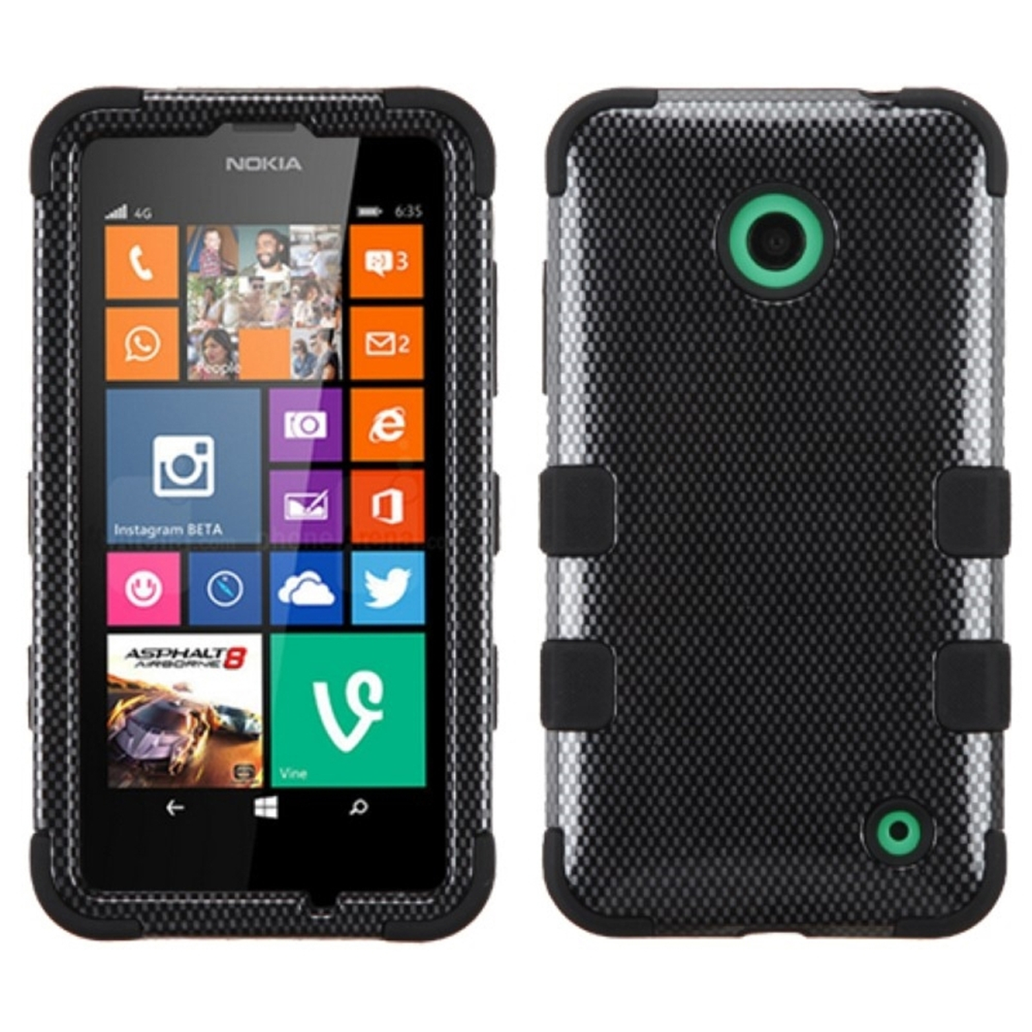 Insten Carbon Fiber/Black TUFF Hybrid Rugged Hard Shockproof Protector Cover Case For Nokia Lumia 630 635