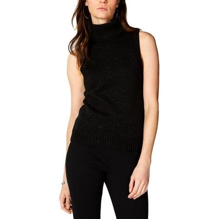 MICHAEL Michael Kors Womens Lurex Sleeveless Turtleneck Sweater