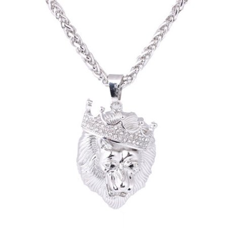 Mens Full Iced Out Rhinestone Lion Tag Pendant Cuban Chain Hip Hop Necklace