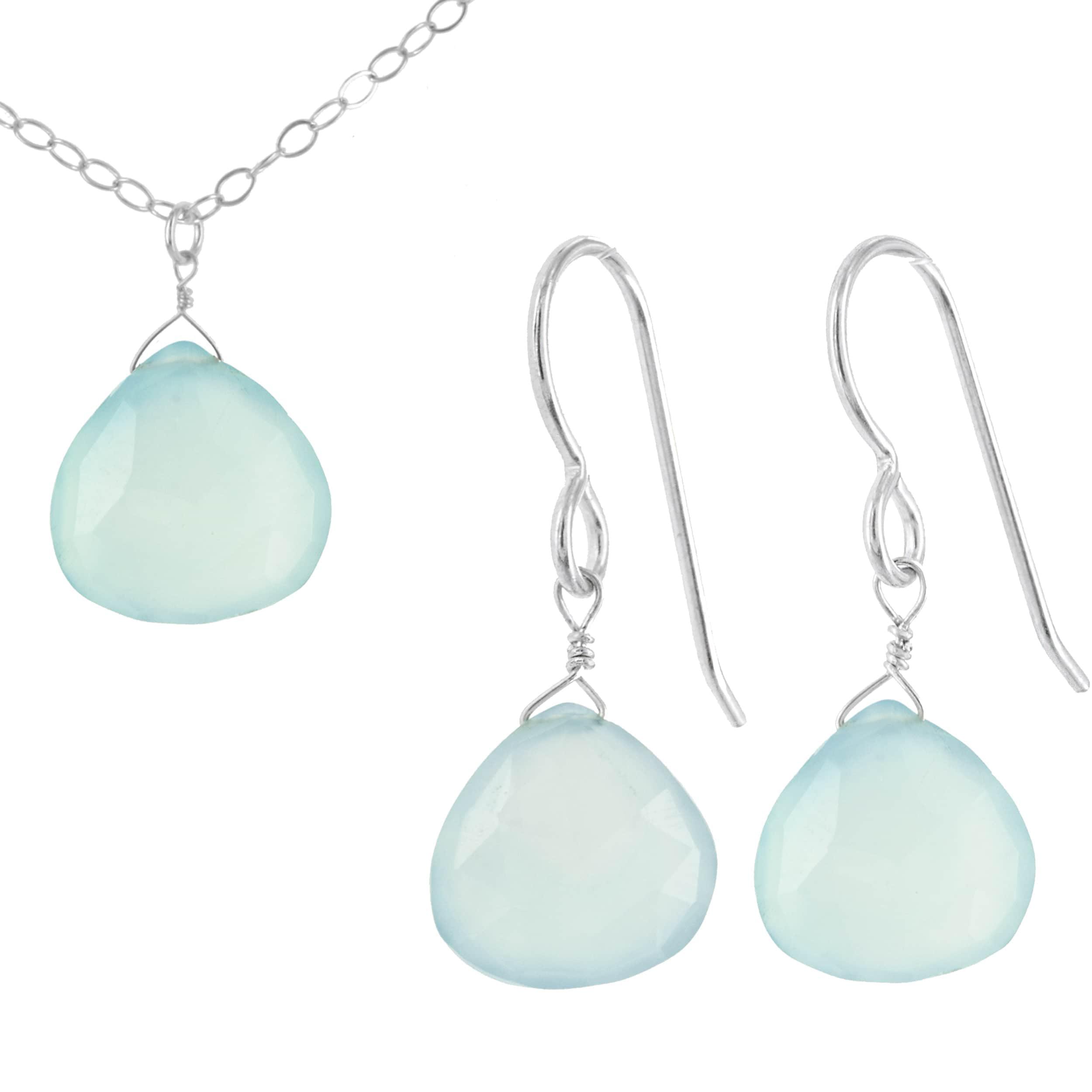 Ashanti Handmade Aqua Chalcedony Gemstone Briolette Sterling Silver Earring and Necklace Set (Sri Lanka) by Overstock
