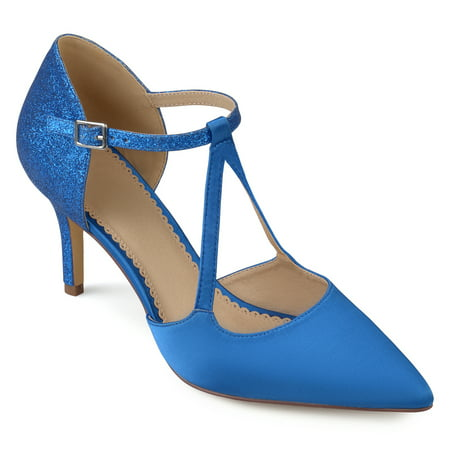 - Womens Faux Leather Satin Glitter Pointed Toe V-strap Heels
