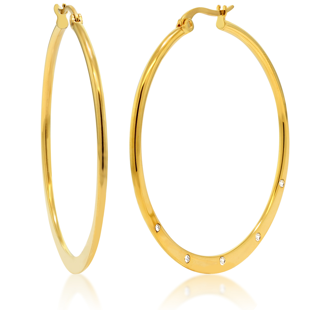 1.50 Inch Stainless Steel Gold Color Hoop Earrings with White Crystal