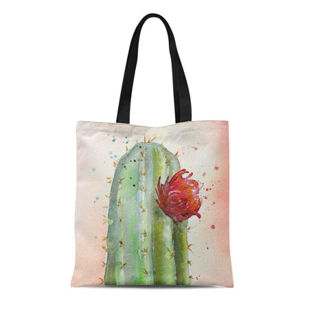 ASHLEIGH Canvas Tote Bag Green Flower Watercolor Flowering Cactus Coral Bohemian Desert Reusable Handbag Shoulder Grocery Shopping Bags