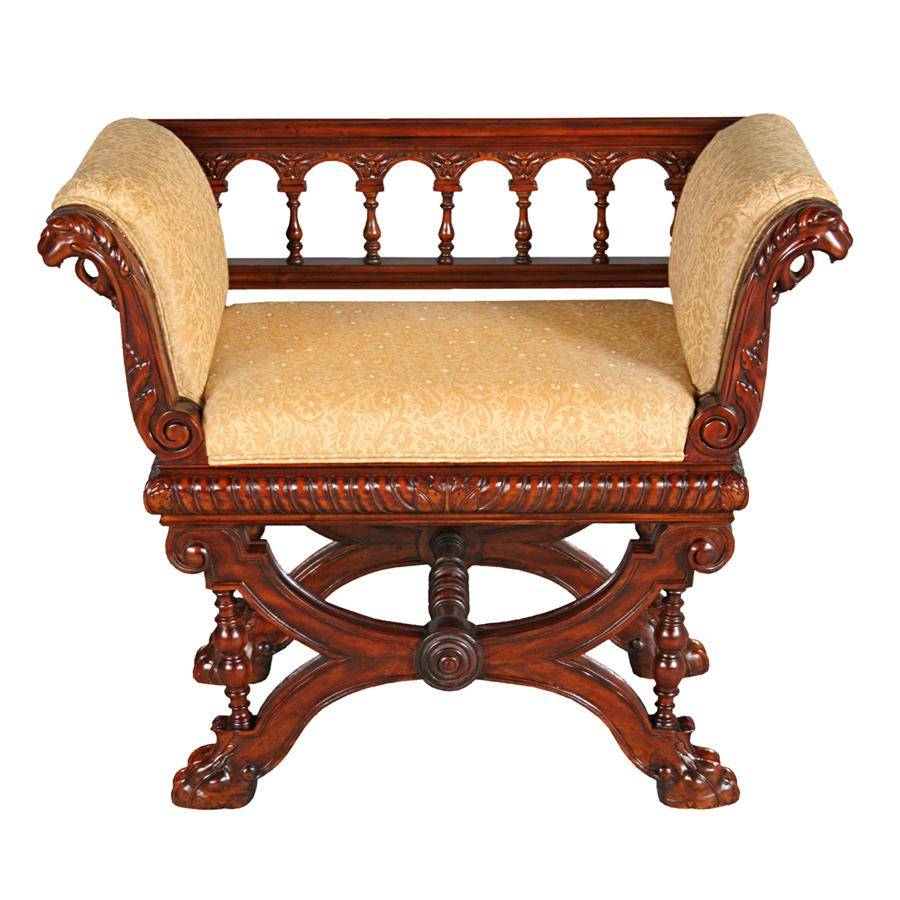 Double Griffin Colonnade Bench