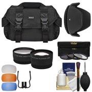 Essentials Bundle for Nikon D3200 D3300 D5200 D5300 D5500 Camera + 18-55mm VR Lens with Case + Wide/Tele Lenses + 3 (UV/CPL/ND8) Filters + Hood + Kit