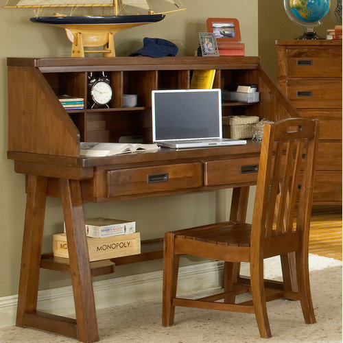 American Woodcrafters Heartland Writing Desk and Hutch