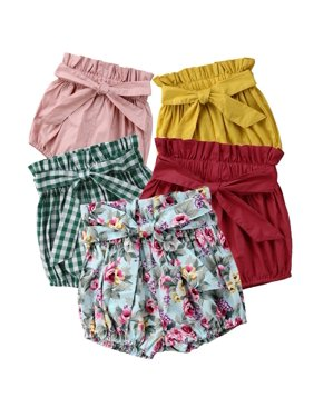 Toddler Baby Girls Cotton Bowknot Elastic Waist PP Pants Bloomers Shorts Trousers