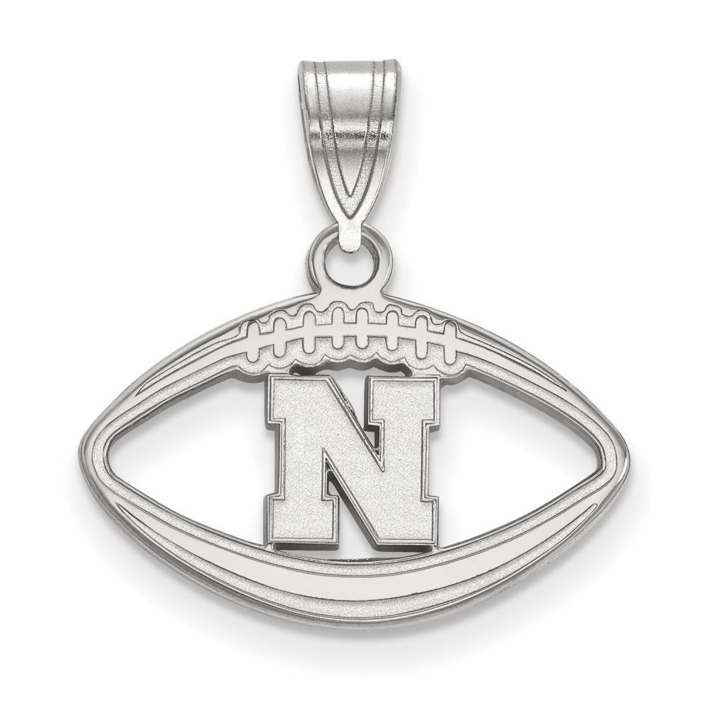 Nebraska Pendant in Football (Sterling Silver)