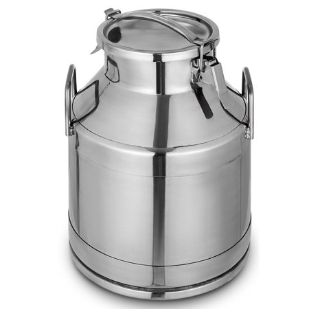 Square Pail Lid - BestEquip Stainless Steel Milk Can 20 Liter Milk bucket Wine Pail Bucket 5.25 Gallon Milk Can Tote Jug with Sealed Lid Heavy Duty